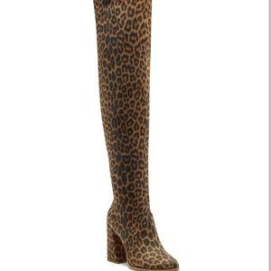 Jessica Simpson Over Knee High Heel Boot Leopard